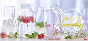 Beakers with floral essences - create natural perfumes with essential oils